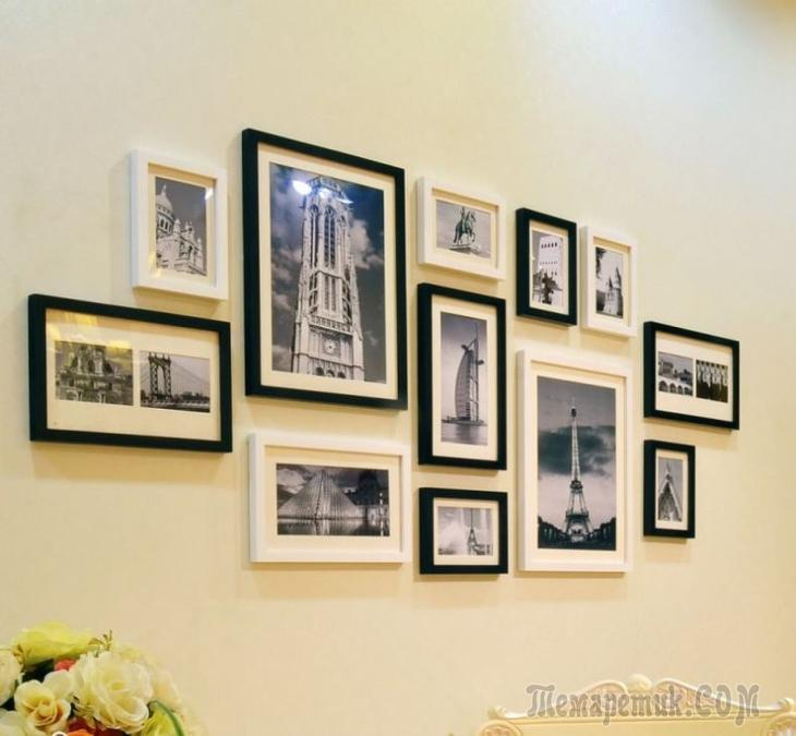 Как красиво повесить фотографии в рамках 49 фото Оформление стен рамками для фото в голубом цвете другие фоторамки в интерьере