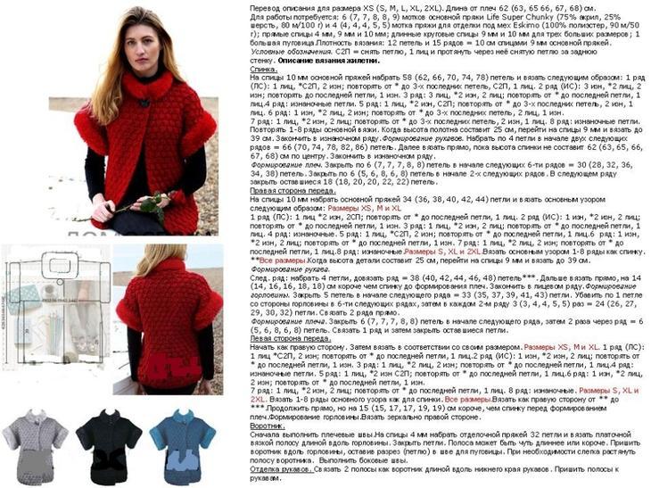 Описание вязания спицами женского жилета с меховой отделкой, вариант 3