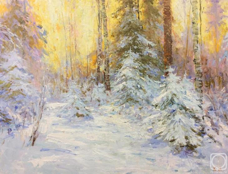 Картина маслом на холсте. Комаров Николай. Зима