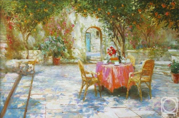 Картина маслом на холсте. Комаров Николай. Итальянский дворик