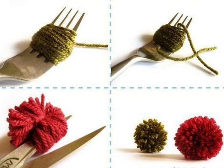Краткая инструкция в картинках по созданияю помпона на вилке
