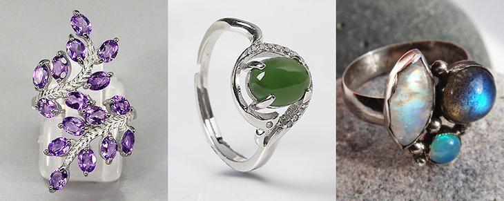 Из каких камней делают украшения серебряные
