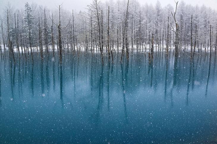 Голубой пруд Биэй в Японии зимой. Красивое фото