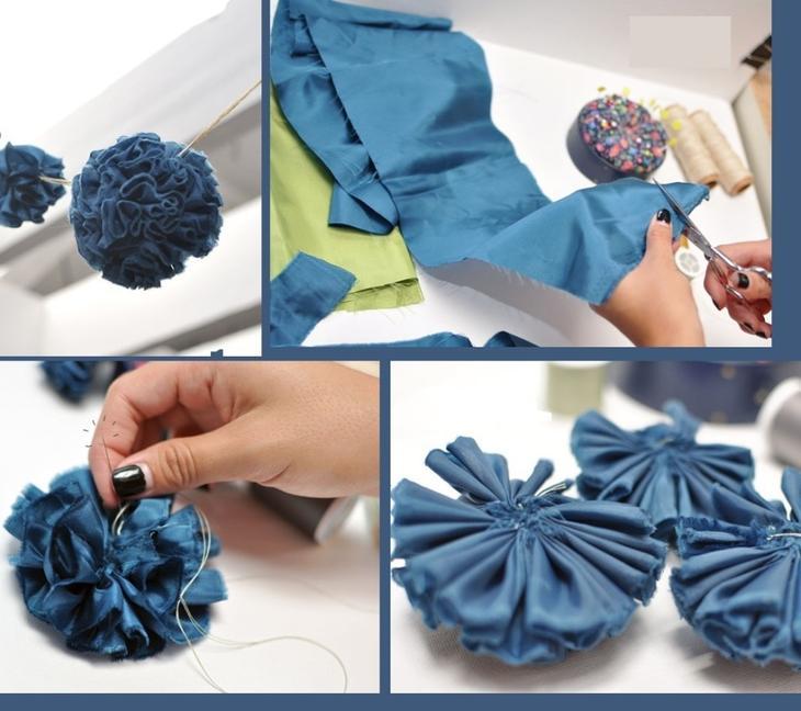 Пошаговые фото изготовления помпона из ткани