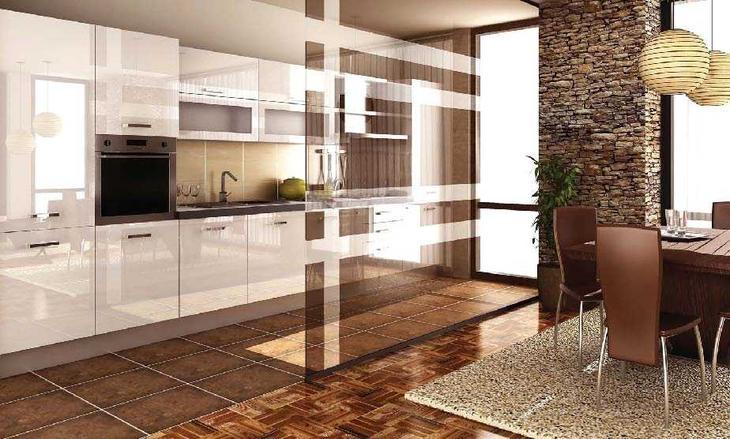 Зонирование гостиной с помощью напольных покрытий