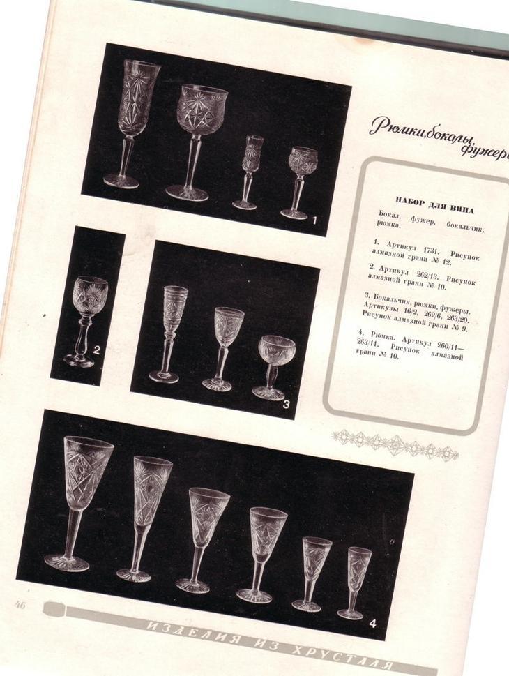 Фото из редкого каталога сортовой посуды из хрусталя и стекла, 1957 год выпивка, интересное, история, лафитники, посуда, рюмки, стаканы, факты