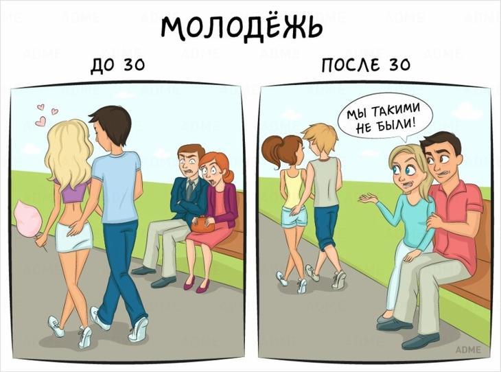 Забавные картинки, как выглядит жизнь до и после 30 лет