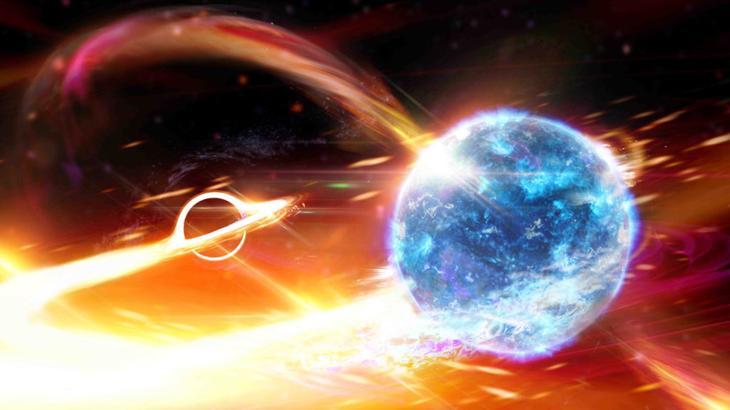 Ученые сравнили черную дыру, пожирающую нейтронную звезду, с Пакмэном из одноименной компьютерной игры / ©Carl Knox, OzGrav ARC Centre of Excellence