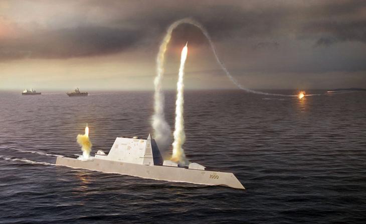 Вооружение-трансформер «Замволт» будет поражать врага при помощи универсальной пусковой установки Мк-57. На палубе эсминца установлены 20 модулей Мк-57, каждый из которых имеет 4 ракетные ячейки. Более того, в одну ячейку можно поместить и два боеприпаса — лишь бы габариты подходили. Предполагается, что судно будет оснащаться различными типами боеприпасов в зависимости от поставленных задач. Такой подход действительно превращает «Замволт» в универсального убийцу, способного справиться с целью в любой среде.