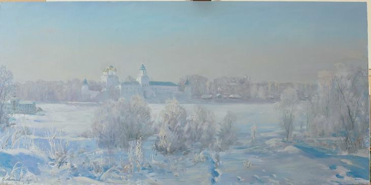 Зимушка морозная. Ипатьевская слобода. 2008 Холст, масло. 60 х 120