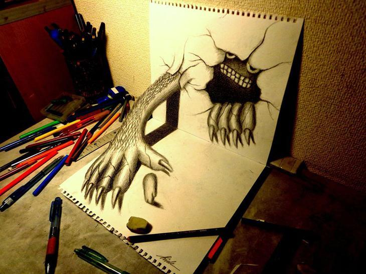 3Ddrawings27 Самые впечатляющие карандашные 3D рисунки от художников со всего света