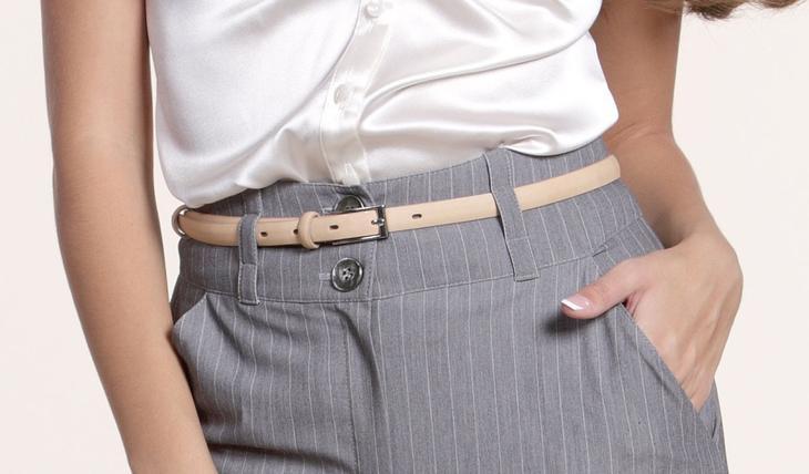 Фото готовых поясов на сшитых женских брюках, вариант 11