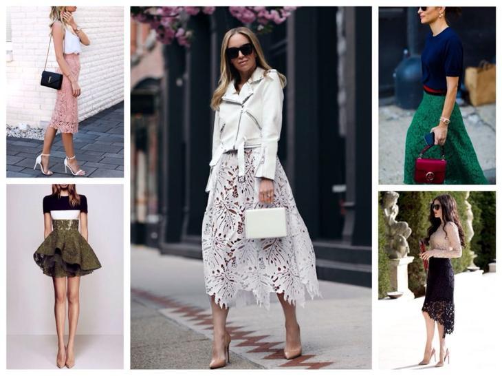 различные модели и цвета юбок из кружева