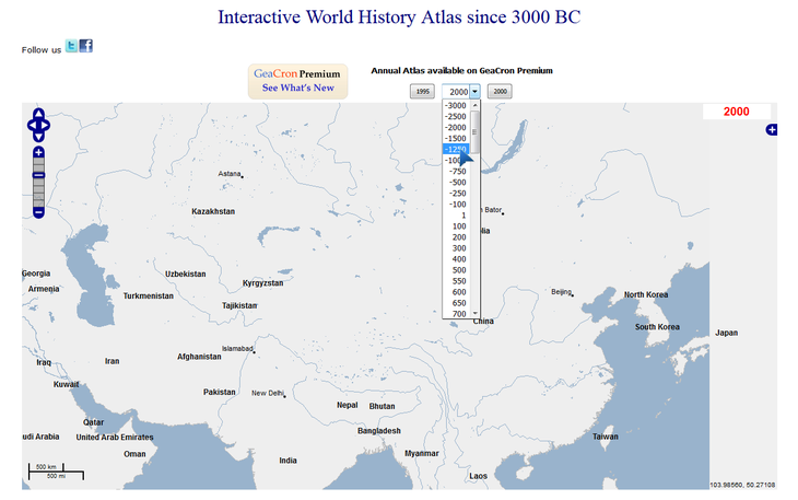 Рис. 2 – Карта мира за последние 5 тысячелетий