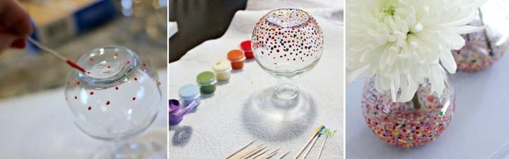 Точечная роспись вазы зубочисткой