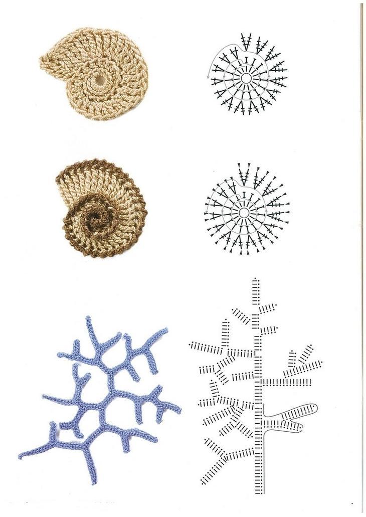 Схемы простых элементаов ирландского кружева крючком, пример 7