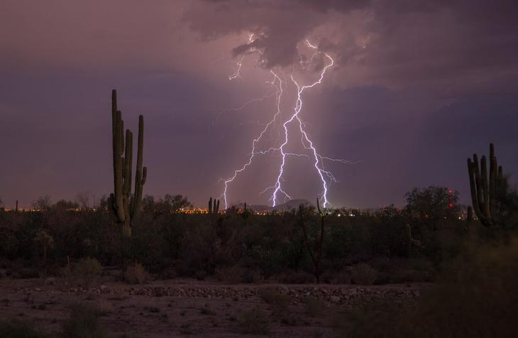 Молнии и кактусы в Аризоне