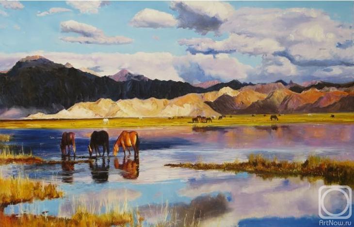 Картина маслом на холсте. Комаров Николай. Кони, пьющие небо