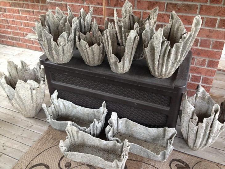 Необычные горшки из цемента