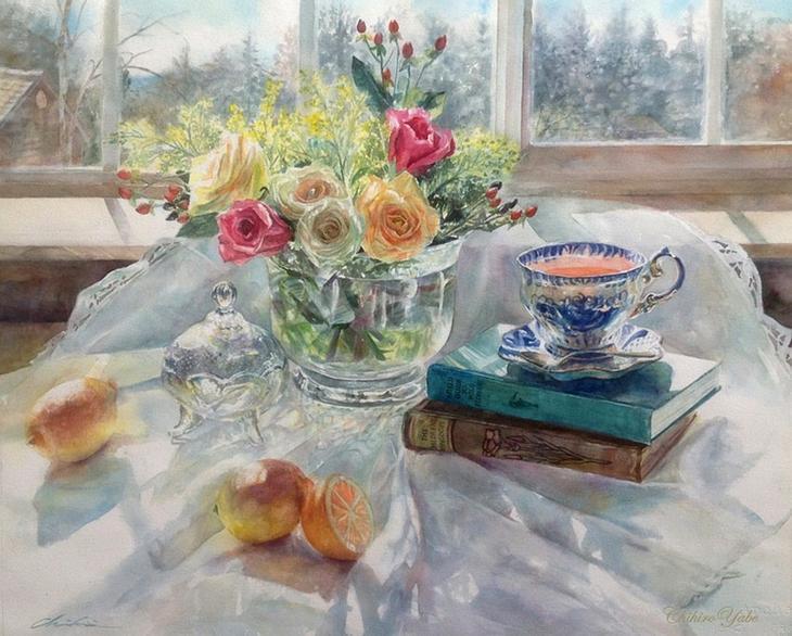 Нежная сказка цветов... Акварели Чихиро Ябе