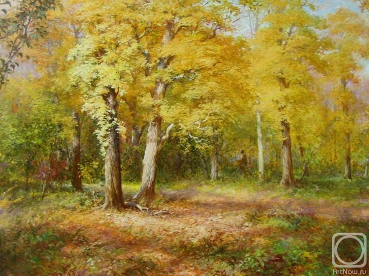 Картина маслом на холсте. Комаров Николай. Золотой листопад