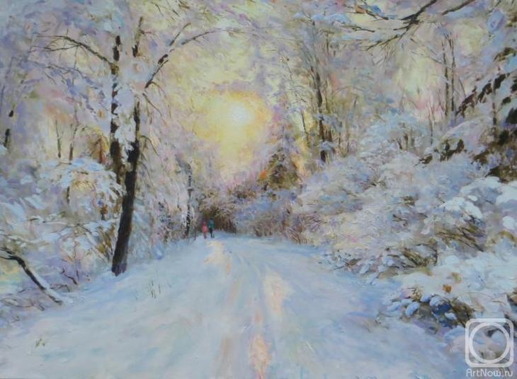 Картина маслом на холсте. Комаров Николай. Солнце в парке