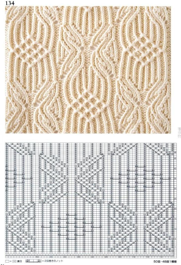 Схемы узоров для вязания женских жилетов спицами, пример 1