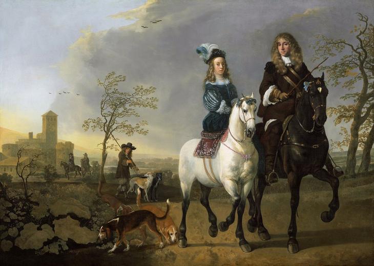 Дама и кавалер верхом -- 1655-65, 123х172, Нац гал Вашингтон