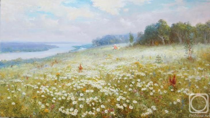 Картина маслом на холсте. Комаров Николай. Ромашковое поле