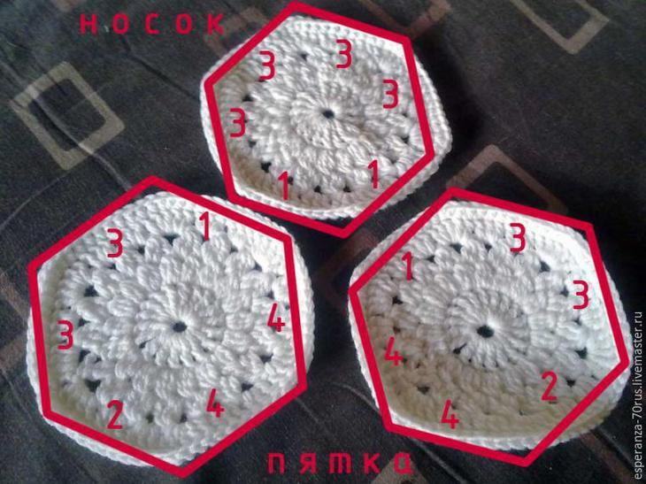 Милые домашние тапочки крючком, фото № 7