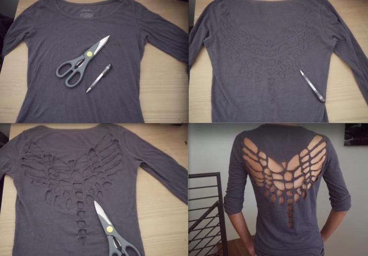 Пример декорирования футболки ножницами