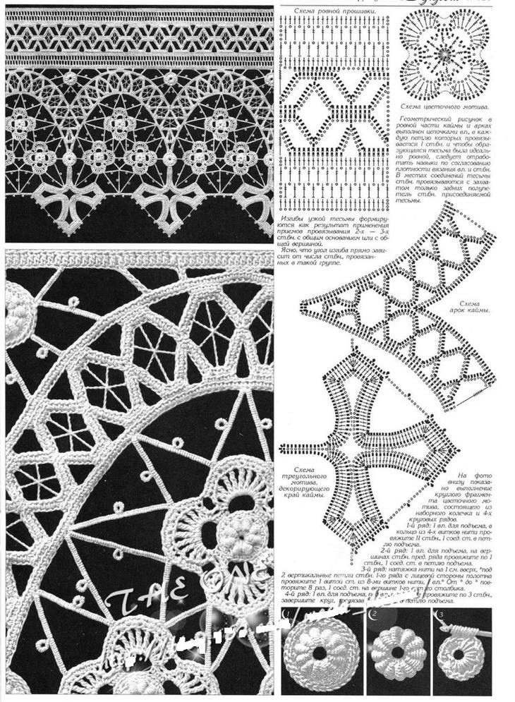 Схемы элементов ирландского кружева, связанных крючком, вариант 11