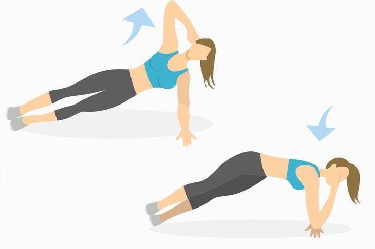 Упражнения на руки — боковая планка со скручиванием