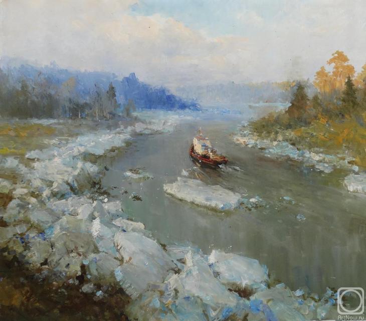 Картина маслом на холсте. Комаров Николай. Ледоход