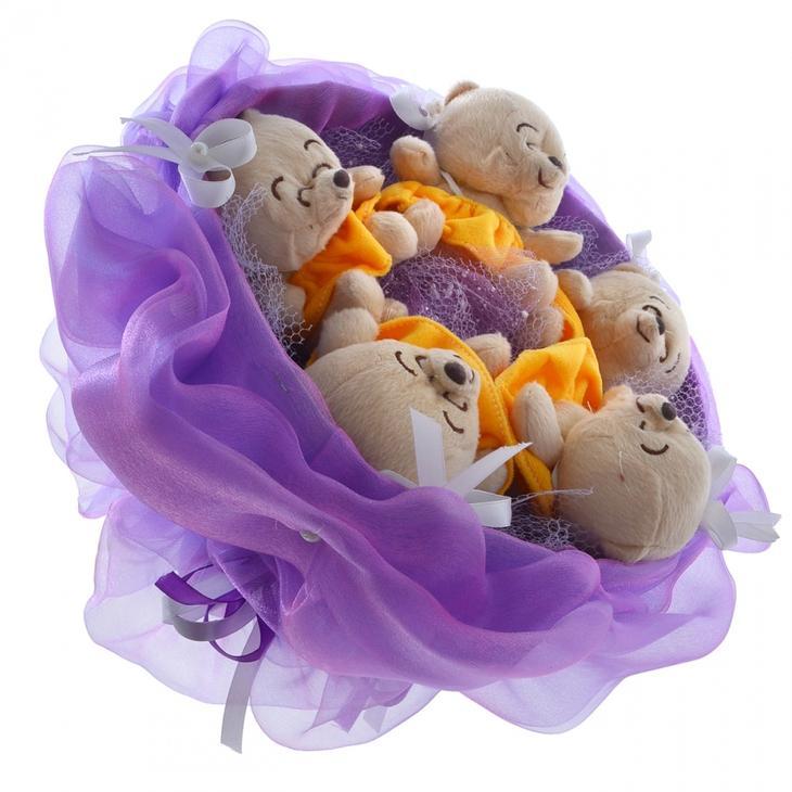 Букеты из мягких игрушек мишки