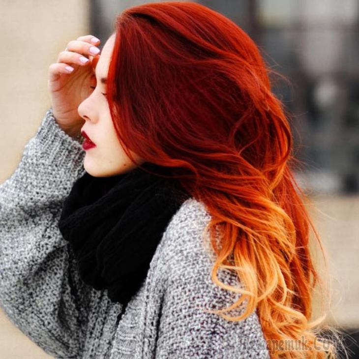 Красное омбре на волосах