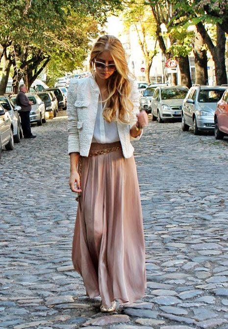 Как и с чем носить длинную юбку