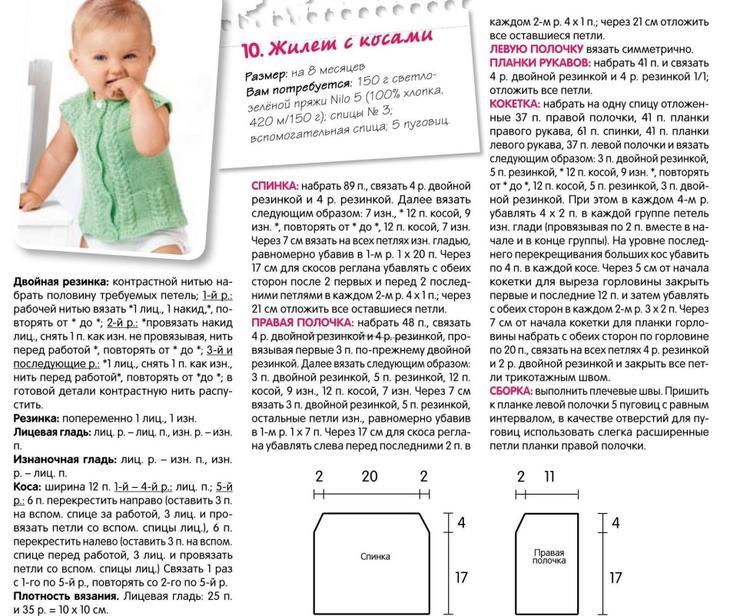 Жилет детский на девочку на пуговицах: схема вязания