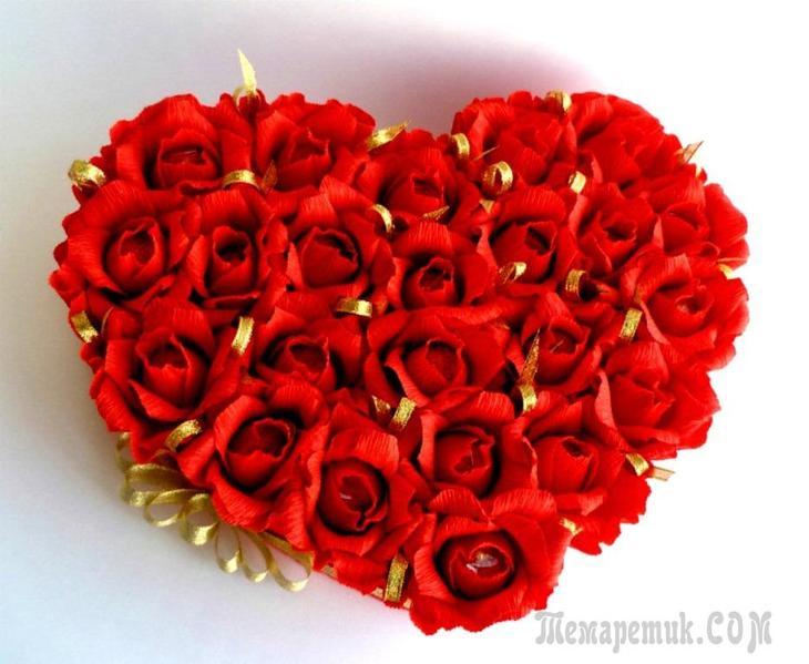 fullsize Как сделать красивую розу и бутон розы из гофрированной бумаги с конфетами и без конфет своими руками