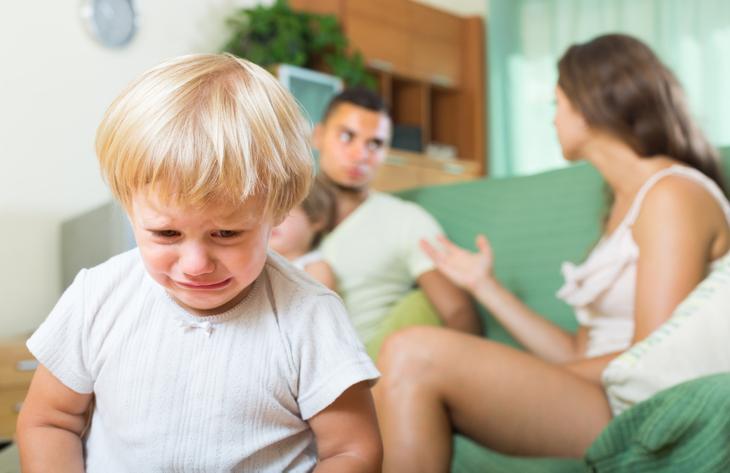 Семья ссорится в присутствии ребенка.