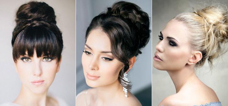 Вечерние прически на средние волосы с пучком в разных стилях
