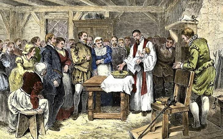 Рождение первой американки в колонии на Роанок.