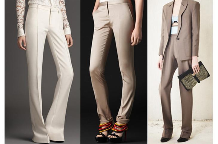 Несколько моделей женских классических брюк на девушках