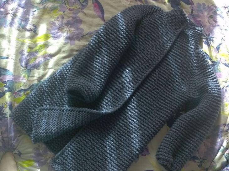 Кардиган платочной вязкой