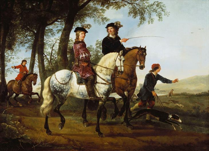 Пейзаж с всадниками на охоте -- 1650-55, Частное собрание