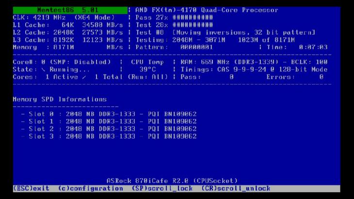 Основной экран Memtest86