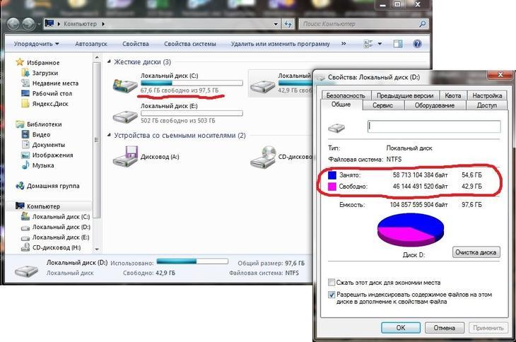 """Количество свободного места на логических дисках в окне """"Компьютер"""" и свойствах диска"""
