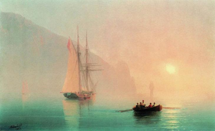 Аю-Даг в туманный день 1853 28х36. Иван Константинович Айвазовский