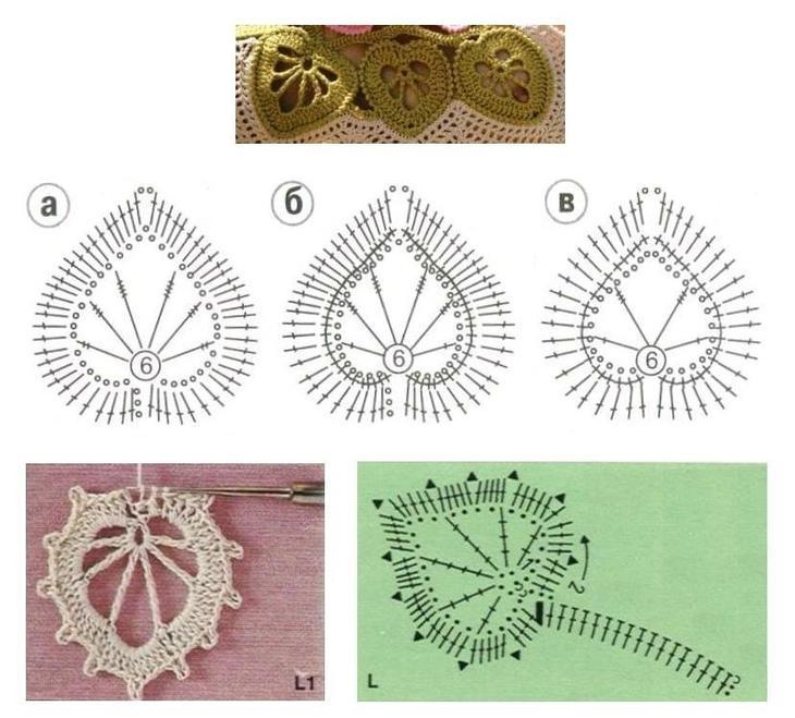 Схемы элементов ирландского кружева, связанных крючком, вариант 6