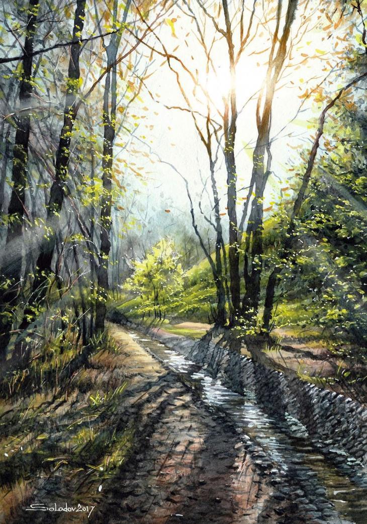 Акварельные пейзажи России в творчестве художника Николая Солодова